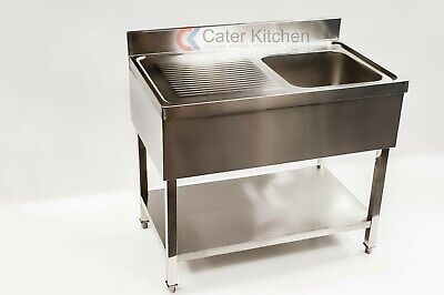 Stainless Steel Left Hand Drainer Commercial Restaurant Catering Sink 1000mm • 288£