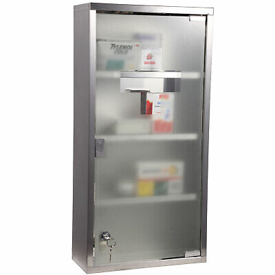 Large Lockable Medicine Cabinet Stainless Steel Wall Mounted Storage Glass Door • 39.99£