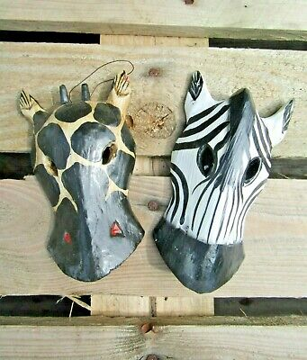 Hand Carved Made Wooden Giraffe Zebra Animal Wall Art Plaque Mask Set Of 2 • 14.99£