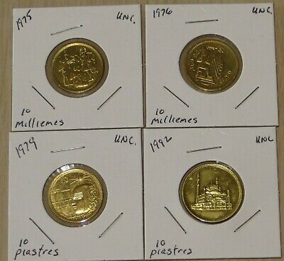 $1.99 • Buy Egypt 1975,1976, 1979 10 Milliemes, ( L910P9-12) 1992 Uncirculated 10 Piastres