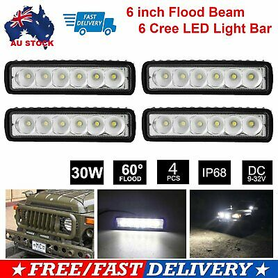 AU27.99 • Buy 4x 6inch Cree LED Work Light Bar Flood Work Driving Lamp Offroad 4WD Reverse