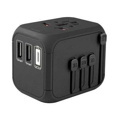 AU27.99 • Buy New Fast Charging Universal Travel Adapter 18 W PD QC 3.0 With 2 USB + 1 Type C