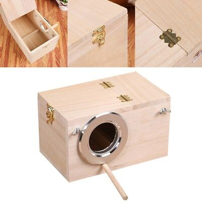 Wooden Cockatiel Nest Nesting Box With Opening Top Perch Cage Aviary • 8.89£