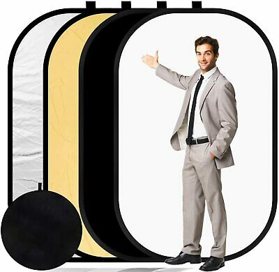 4 In 1 Collapsible Background Reflector Panel Cotton Muslin Black White Backdrop • 36.99£