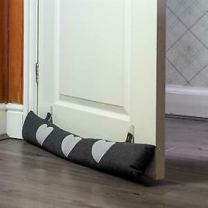 Door Draught Excluder Cold Air Draft Stopper Herringbone Fabric Cushion Grey • 13.99£