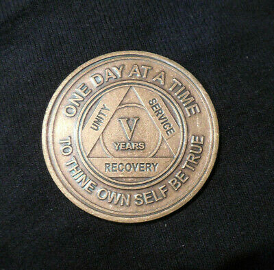 $3.20 • Buy NEW Aa Bronze Alcoholics Anonymous 5 Year Sobriety Chip Coin Token Medallion