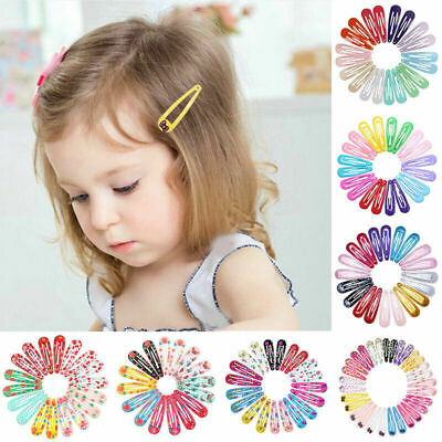 $6.99 • Buy 20pcs 5cm Snap Hair Clips For Hair Clip Pins BB Hairpin Color Metal Barrettes US