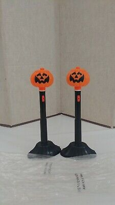 $ CDN33.37 • Buy 2 Vintage Halloween Blow Mold Pumpkin Battery Operated Lighted Candles NOS!!