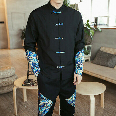 Mens Linen Cotton Shirt Top Jacket Ethnic Chinese Kung Fu Frog Button Wave Retro • 18.04£