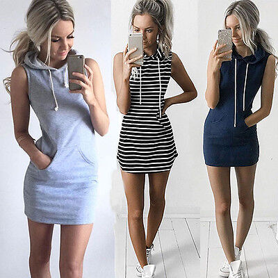 AU16.31 • Buy Fashion Sexy Women Boho Summer Hooded Bodycon Sleeveless Party Cocktail Dress Ry