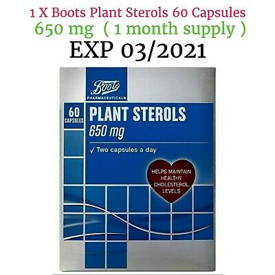 Boots Plant Sterols 60 Capsules 650 Mg  (1 Month Supply EXP 03/2021 • 12.90£