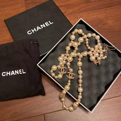 £838.97 • Buy Chanel Long Pearl COCO Mark Necklace White, Gold Color With Box