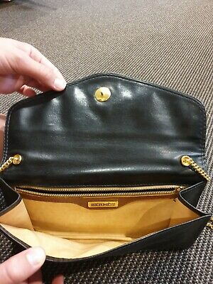AU1302 • Buy Hermes Authentic Vintage Black Leather Clutch Bag