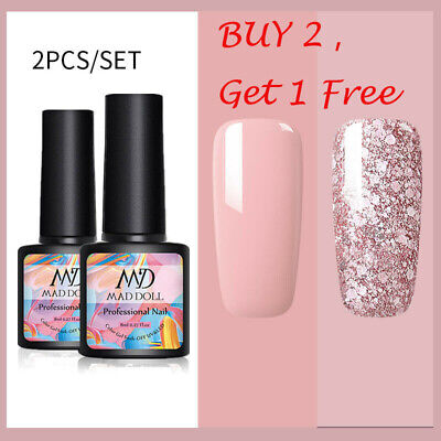 2 Bottles/Set 8ml MAD DOLL Glitter UV Gel Nail Polish Soak Off Nail Art Varnish • 4.98£