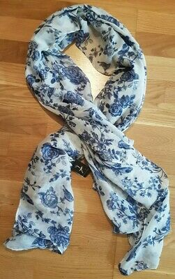 £6.50 • Buy Primark Large White And Blue Floral Scarf / Shall / Wrap / Beach Cover Up