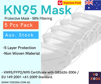 AU9.99 • Buy 5pcs X N95 KN95 Mask Respirator Face Masks Reusable Filter Disposable Anti Dust