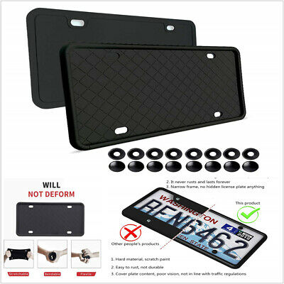 $ CDN27.99 • Buy Black Silicone Rubber Car License Plate Frame Cover Front Or Rear US Size 2PCS