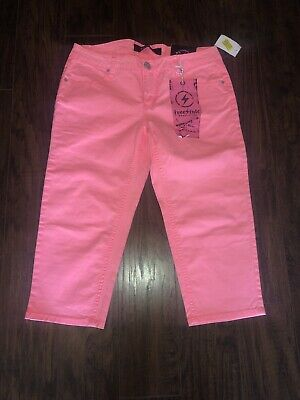 $3.99 • Buy NEW! Freestyle Revolution American Twill NEON Pink Coral Crop Capri Jean Pant 11