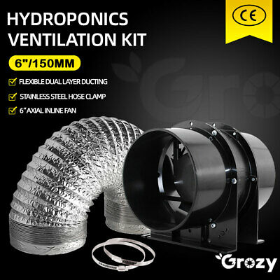 AU89.95 • Buy GROZY 6 /150mm Ventilation Kit Hydroponics Axial Inline Silent Fan Ducting Combo
