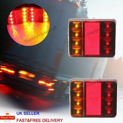 AU18.99 • Buy 12V Waterproof Trailer Pair Of Rear Tail Light Lights KIT Submersible 8 LED Boat