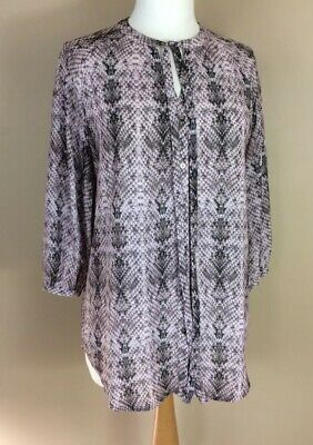 Snakeskin Print Blouse Size 10, Pale Pink Together Shirt Blouse Top, VGC • 8.99£