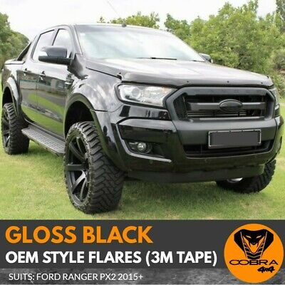 AU314 • Buy FENDER FLARES FITS FORD RANGER PX2 MK2 2015 - 2018 KIT GLOSS BLACK GUARD 3m Tape