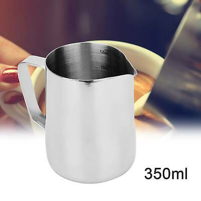 £6.09 • Buy 350ml Silver Metal Milk Frothing Jug Mugs Coffee Latte Cafe Cappuccino Pitchers