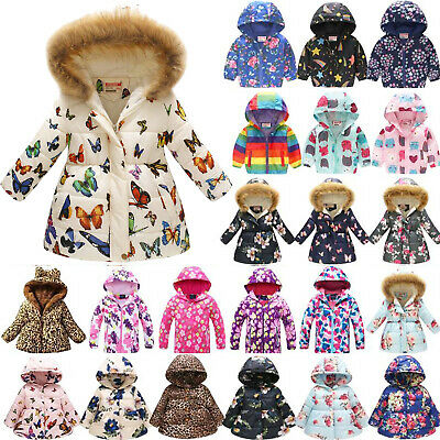 Kids Girls Winter Thick Coat Hooded Jacket Warm Padded Floral Overcoat Outerwear • 10.06£