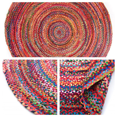 TRIDNT Round Handmade Recycled Multi Chindi Rag Rug LoomedWovenStrip Indian Flat • 39.98£