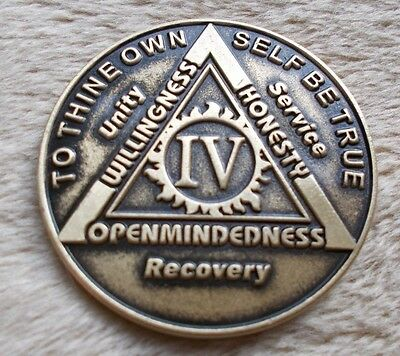 $3.80 • Buy Aa Bronze Alcoholics Anonymous 4 Year Sobriety Chip Coin Token Medallion
