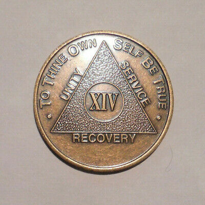 $3.20 • Buy NEW Aa Bronze Alcoholics Anonymous 14 Year Sobriety Chip Coin Token Medallion