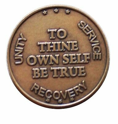 $3.80 • Buy AA ALCOHOLOCS ANONYNOUS BRONZE To Thine Own Self Be True Medallion COIN CHIP NEW