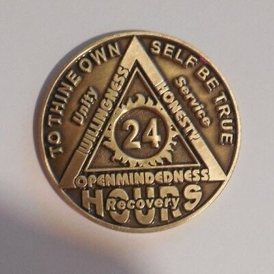$3.80 • Buy AA BRONZE 24 Hours Welcome Desire Sobriety Chip Coin Token Medallion