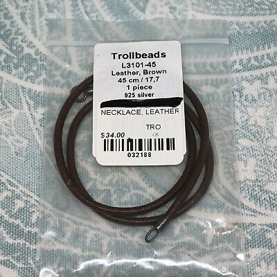 $25 • Buy Authentic Trollbeads Leather Brown Necklace 17.7in/45cm (17in/43.1 Actual), New