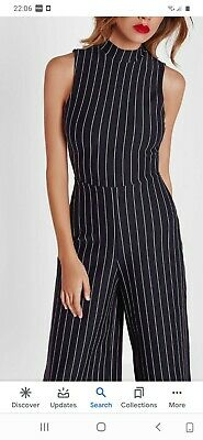 In The Style Black And Silver Pinstripe  Jumpsuit Size 8 • 10.99£