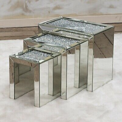 Mirrored Coffee Table Nest Of Tables Crushed Crystal Diamond Living Room Stand • 299.99£