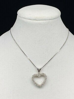 "$75 • Buy 10k White Gold Genuine Diamond Heart Charm Pendant W/ 18"" Box Chain Necklace"