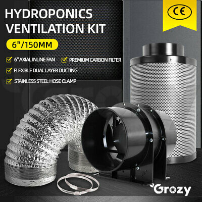 AU189 • Buy Grozy 6  Hydroponics Ventilation Kit Silent Vent Fan Carbon Filter Ducting Combo