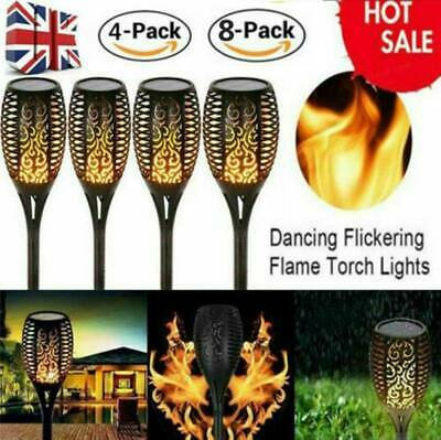 LED Solar Flickering Flame Effect Torch Stake Garden Lights - 4 Pack 8Pack • 13.99£