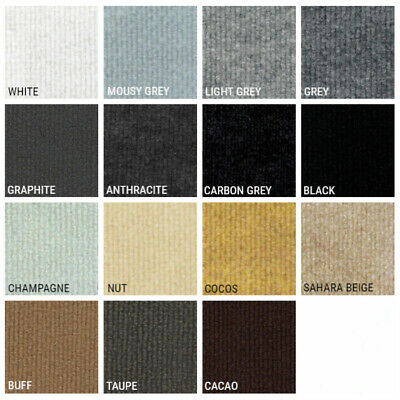 £29.90 • Buy CORD Grey Black Brown   Ribbed Carpet Recyclable Ideal Temporary Budget Flooring