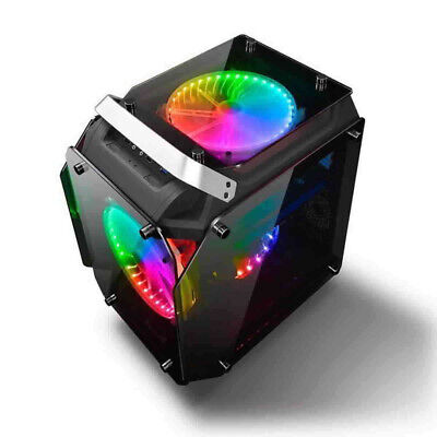 AlphaBetaPC Tempered Glass ATX Computer Case Air Cool PC Case With RGB Fans • 101.26£