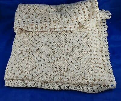 $14 • Buy Cream Vintage Rectangle Crochet Lace Table Cloth Topper Cotton Tablecloth 67x47