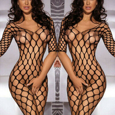Sexy Womens Fishnet Babydoll Crotchless Bodysuit Lingerie Underwear Bodystocking • 4.39£