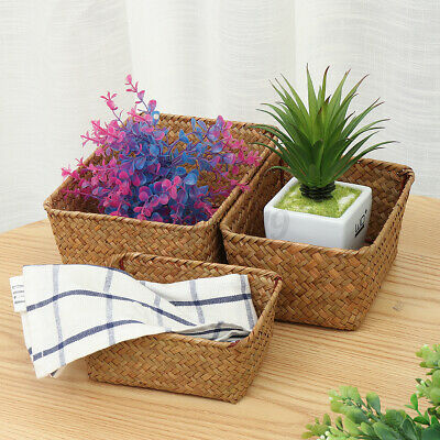 Seaweed Woven Storage Basket Hamper Versatile Small Medium Large 3 Pack Drawer • 10.99£