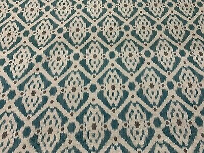 French Petite Ikat Linen Teal/Grey/Oatmeal 280cm/108  Wide Curtain Fabric  • 30£