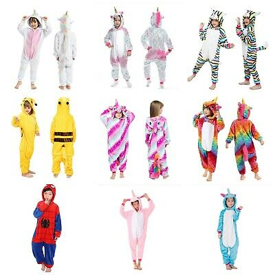 AU30.99 • Buy Kids Unicorn Onesie0 Cat Spiderman Pikachu Kigurumi Animal Costume Cosplay