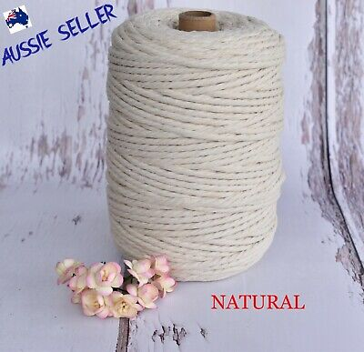 AU45 • Buy Macrame Cord Rope String Cotton 4mm 3 Strand Twist  - 190Mtrs - Melbourne Stock