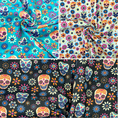 £4.99 • Buy Polycotton Fabric Mexican Candy Skulls Skeleton Floral Flowers Gothic Halloween
