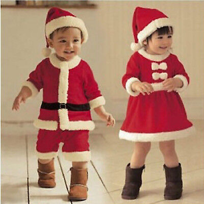 Baby Boy Girls Santa Claus Romper Christmas Cosplay Costume Festival Outfit Sets • 8.07£