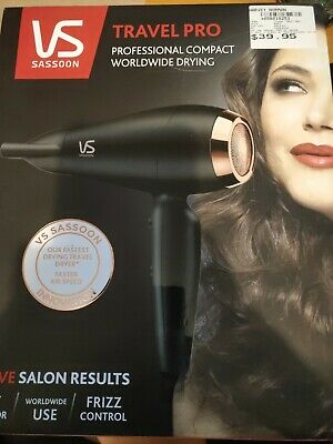 AU3 • Buy VS Sassoon Travel Pro Ac Dry 1600W Hair Dryer/Hairdryer/Fast Drying/Light Weight